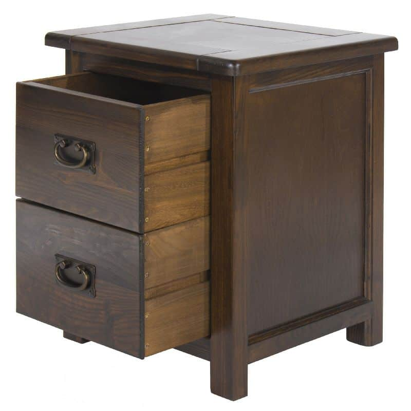 boston 2 drawer bedside cabinet premium dark wood bt210