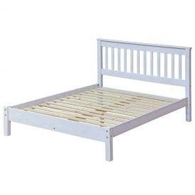 Corona Whitewashed Double Bedstead With Integrated Headboard
